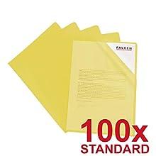 """Falken Standard Filing Pockets, Transparent Coloured Tanned A4""""Standard"""" (100 Stück) Yellow"""