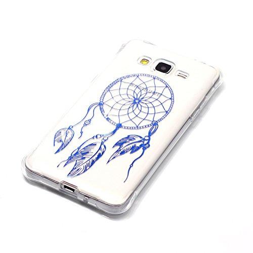 Samsung Galaxy J3 Coque,Samsung Galaxy J3 Gel Motif métallique TPU Case Feeltech Apple iPhone SE Case Silicone Clair Ultra Mince Premium Bumper iPhone 5S Housse Légère Étui Protecteur Transparente Sou Bleu Attrapeur de rêves