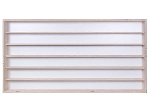 V16a- Vitrine murale 150 cm x 58 cm x 8,5 cm collection miniature collecteur affichage pion petit objet vitres en plexiglas clair meuble rangement étagère bois nature