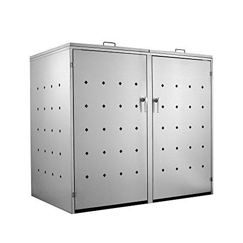 *Zelsius Edelstahl Mülltonnenbox für 2 Mülltonnen je 120 und/oder 240 Liter, Mülltonnenverkleidung mit 2 Klappdeckel, Metall Müllbox, abschließbar*