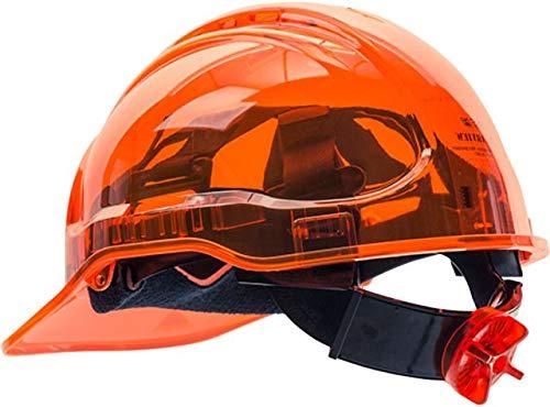 Portwest PV64ORR Elmetto rigido con visiera trasparente, serie PV64, traslucido, regolare, arancione