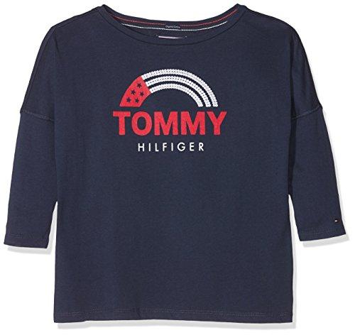 Tommy hilfiger hilfiger flag 3/4 tee, t-shirt bambina, blu (black iris 002), 128 (taglia produttore: 8)