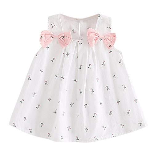 WUSIKY Summer Toddler Princess Dress Kids Baby Girls Solid Color Sleeveless Bowknot Dress Sundress Newborn Birthday Gift Princess Dress