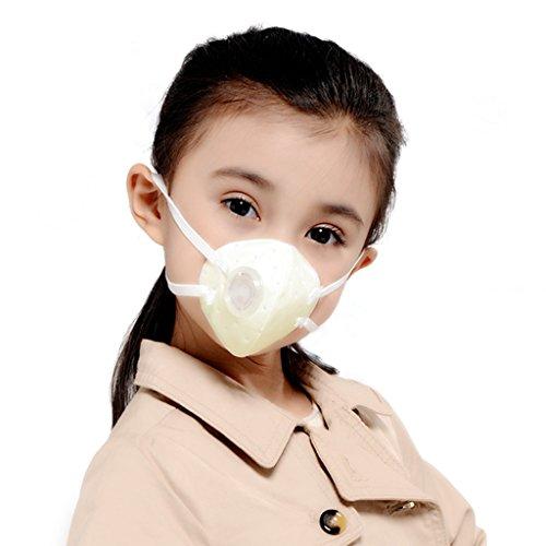 KANJEKANLE Wieder Verwendbare Antibakterielle Staub Atmungsaktive Abwaschbare Sport Gesichts Masken,Superfeines Silberfaser Material Atem Ventil,für Kinder (3-6Y) Weiß (Nase Lecken)