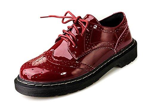 Frühlings-Riemchen-Schuhe mit schweren Boden Schuhe Freizeitschuhe runden flachen Frauen einzelne Schuhe Mund wine red