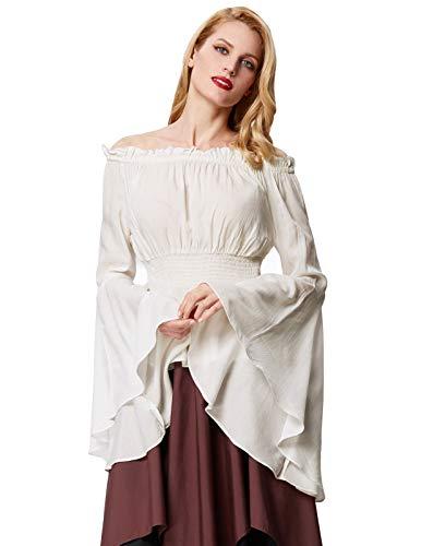 Mittelalter Damen Kostüm - Viktorianische Leichte Langarm Smocked Taille Frauen Tops Elfenbein Größe L