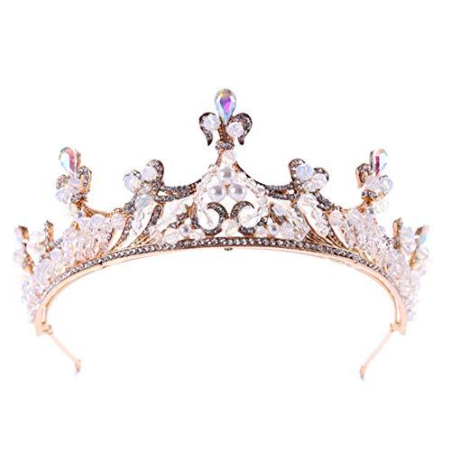 KERVINFENDRIYUN YY4 Crystal Crown Angel Wings Princess Headwear Braut Kopfbedeckung Stirnband Braut Zubehör (Farbe : Golden)