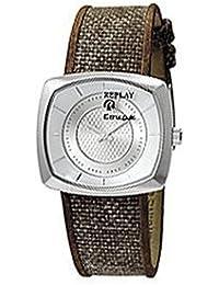 Replay RW5401AH - Reloj de mujer de cuarzo, correa de textil color marrón