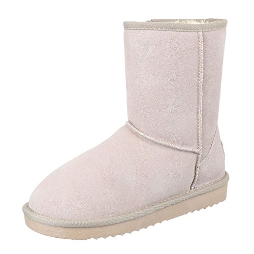 Ital Design Comfort Ankle Boots Donna Scarpe In Pelle Antiscivolo Stivaletti Caldi Foderati Beige