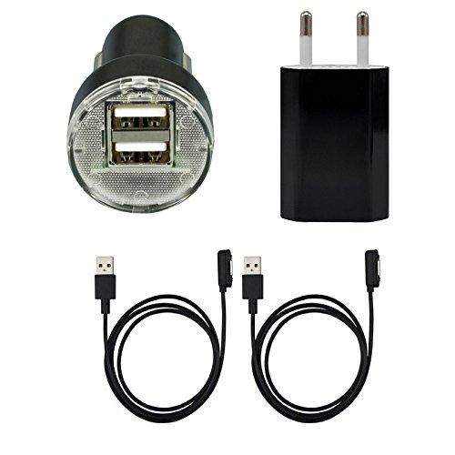 Mondpalast @ + 2X magnetisch Kabel + AC-Ladegerät + Dual usb Auto-Ladegerät fur Sony xperia Z1 Z2 Z3 , z1 z3 compact , Z ultra