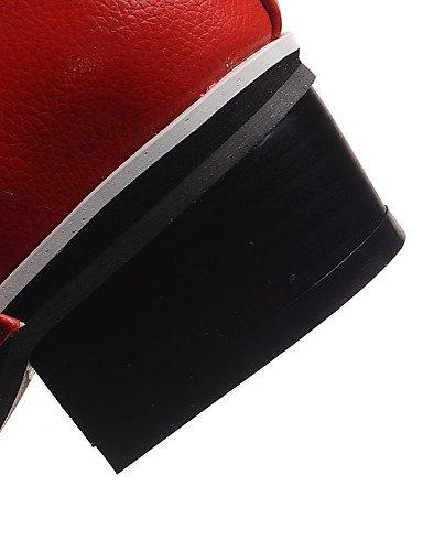 WSS 2016 Chaussures Femme-Extérieure / Bureau & Travail / Habillé-Noir / Rouge / Blanc-Gros Talon-Talons / Confort / Bout Arrondi-Talons- red-us8 / eu39 / uk6 / cn39