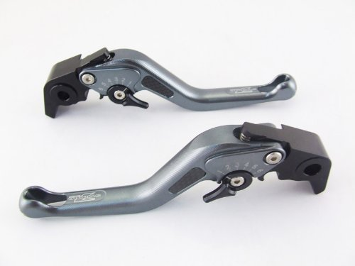 Strada 7 Racing Carbon Kurz Einstellbar Paar Grau für Honda CBR600RR 2007 Ab (Cbr600rr Hebel Shorty)