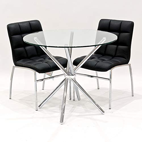 Febland 90cm Round Glass Criss Cross Table With Two Black Coco Dining Chairs