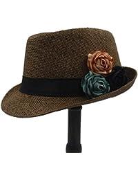 Eastery Gorros Moda Paja Sombrero para Mujer Sombrero Playa El Sol Estilo  Simple Sombrero con Flor De Camelia Verano Panamá (Color  1 … 4b76e2557b1