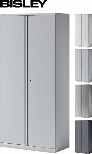 BISLEY Aktenschrank | Büroschrank | Flügeltürenschrank aus Metall abschließbar inkl. 4 Einlegeböden | Stahlschrank in Lichtgrau