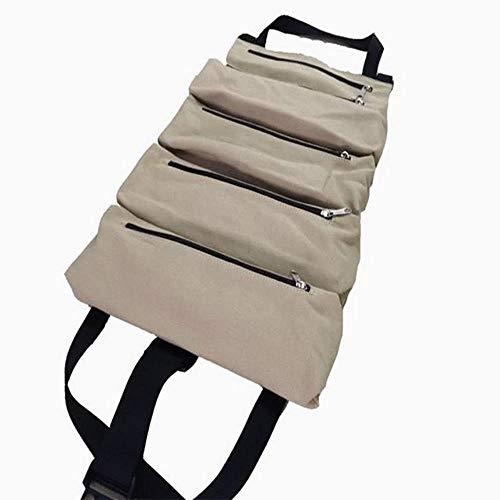 ench Wrench Roll, Werkzeugtasche mit 5 Reißverschlusstaschen Roll-Up Tool Bags für elektrische Lüftungsschlitze Klempner Tischler oder Mechaniker,C ()