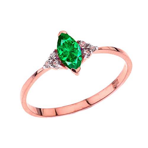 Kleine Schätze Damen Ring Unique Mai Smaragd (LC) Marquise Ring in 14 Karat Rotgold (Rose Gold-emerald-cut-ringe)