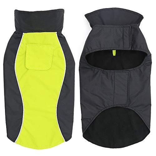 HiGuard Hunde-Regenjacke, leicht, wasserdicht, für große Hunde, mit Streifen, reflektierend und mit Leinenlöchern für den Winter, Warmer Regenmantel, Sicherheit für Hunde und Welpen, XL, grün