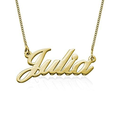 Kleine Namenskette in Druckschrift - aus 750 vergoldetem 925 Silber - Personalisiert