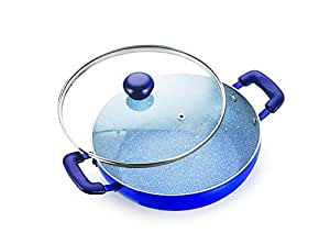 Happy Chef Granite Finish Induction Base Non Stick Deep Kadahi 3.5L with Glass Lid by Chef Harpal Singh Sokhi
