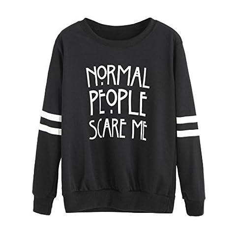 Manadlian emmes à manches longues Blouse Lettre Imprimer Sweatshirt Pullovers Tops (M, Noir)