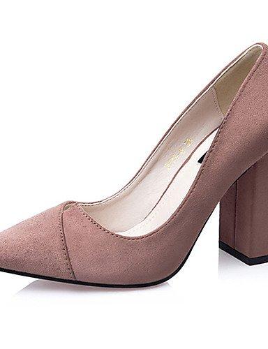 WSS 2016 Chaussures Femme-Décontracté-Noir / Vert / Rouge / Gris / Kaki-Gros Talon-Talons-Talons-Laine synthétique dark green-us6 / eu36 / uk4 / cn36