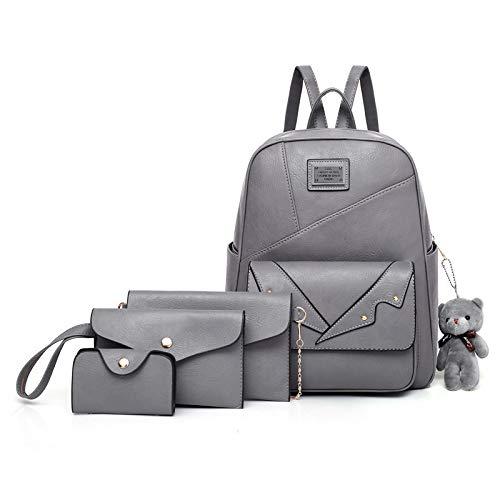 Ldyia Frauen-Rucksack, Diebstahlschutz-Umhängetaschen PU-Leder-Rucksack-wasserdichte Schultaschen-weiblicher/Mädchen-Schultaschen-Rucksack, grau