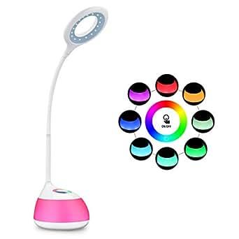 HIHIGOU Lampada LED da tavolo con Porta USB, RGB Luci d'atmosfera,Collo Flessibile, 3 Livelli Dimmerabili, Controllo Sensibile, Luce LED da lettura, non affatica gli occhi, Regali di Natale, bianco