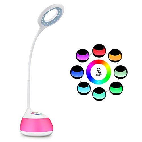 HIHIGOU Lámpara Escritorio LED 3.5W USB de carga 3 niveles de brillo con brazo tipo cuello de cisne RGB Luz de Ambiente Control Táctil 16 Bombillas LED ( Bajo consumo, protección para los ojos)
