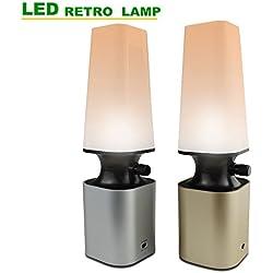 HIHIGOU Lámpara Escritorio LED USB de Carga 2W Lámpara de Mesa y Mesilla de Noche 10 Niveles de Brillo Protect los Ojos Ahorro Energía Lámparas con Luz Natural