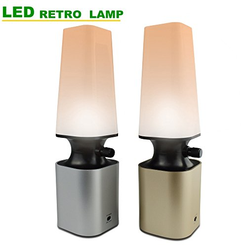 HIHIGOU table Lamp Kids Night Light Small Retro LED Desk Lamp USB Powered table lamps for bedroom 10-Levels Dimmer (Warm white) bedroom lamps lights for Kids Bathroom Hallway Kitchen (Silver)