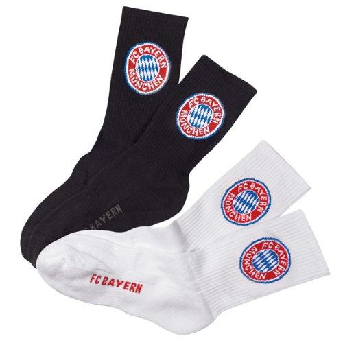 FC Bayern München Sport Socken 2er Set Gr. 43/46 2Paar (schwarz und Weiss)