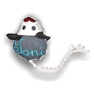 LunaChild Handmade Maus Spielzeug Handgefertigt WUNSCHNAME Name Katzenspielzeug Katzenminze Baldrian Name Rassel grau Katze personalisiert Geschenk