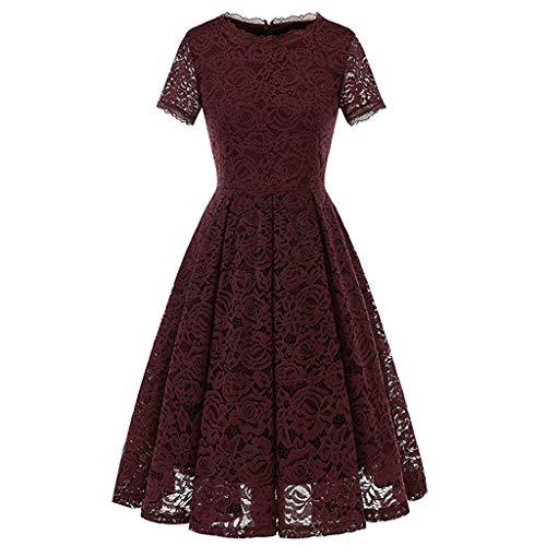 KUKICAT Damen Ball Retro Partykleiderstrickkleid Panel Round Neck Short Sleeve Vintage Kleid