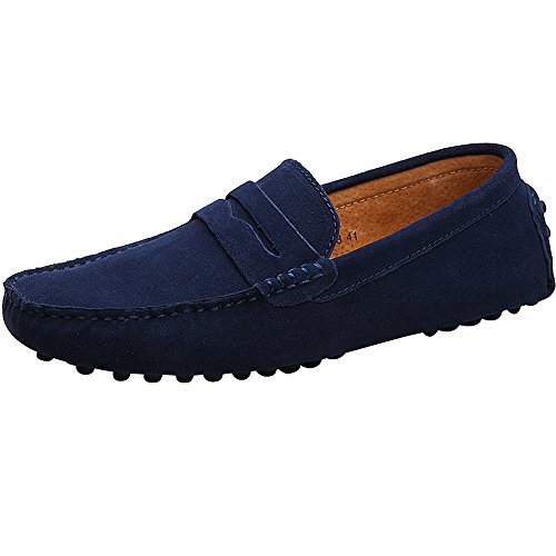 Rismart Men's Casual Slip On Moccasins Suede Loafers Shoes/Flats 2088(navy,UK9)