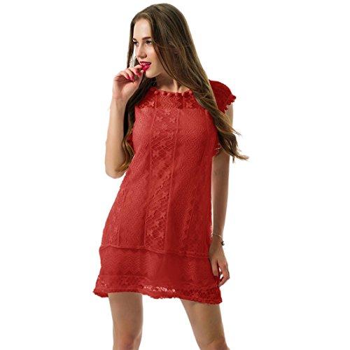 Casual Kleider Ziemlich (Sommer weisse Minikleid Frauen Spitze Kleid Beilaeufiges Sleeveless Partei Kleid, XL, Farbe: Rot)