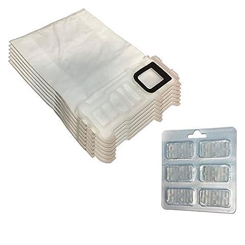 Filterprofi Lot de 6sacs en microfibre pour aspirateur Vorwerk Folletto Kobold VK 135, 136 + 6 parfums