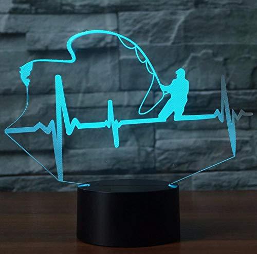 NachtlichtLED 3D Nachtlicht7 Farben ändern Angeln Enthusiasten Lampe Touch-Schalter Kinder Geschenk - Angel-touch-lampe