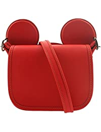 COACH MICKEY Patricia Saddle in Glove Calf Leather with Mickey Ears Bright Red