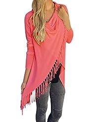 Sannysis® Mujeres camiseta de manga larga camisa de la blusa de la borla (Rojo, S)