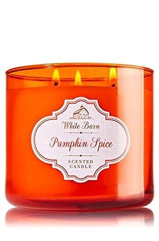 Bath & Body Work White Barn PUMPKIN SPICE 3 Wick Candle 14.5 Oz by BATH & BODY WORK