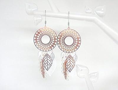 Boucles d'oreilles or rose gold argentées inspiration dreamcatcher attrape-rêves rosaces étoilées plumes feuilles bohème romantique fête des mères