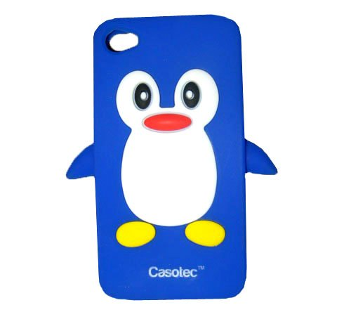 Casotec Penguin Silicone Jelly Back Case Cover for Apple iPhone 4G / 4S - Blue / White  available at amazon for Rs.125