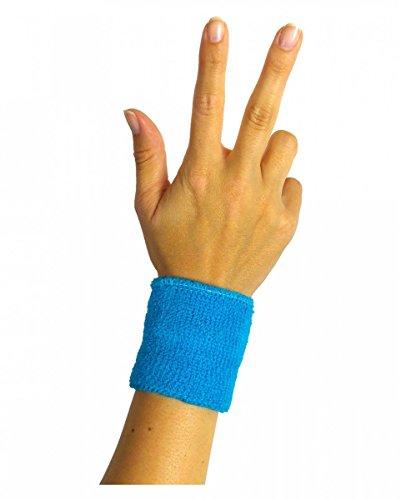 Horror-Shop Neonblaues 80er Jahre Schweiß-Armband für Neon Party -