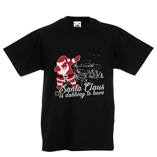 lepni.me Kinder Jungen/Mädchen T-Shirt Der Weihnachtsmann tupft in die Stadt - Frohe Weihnachten (3-4 Years Schwarz Mehrfarben)