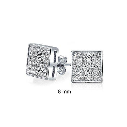 Bling Jewelry Mens Argento 925 Micro Pave CZ Orecchini quadrati 8mm