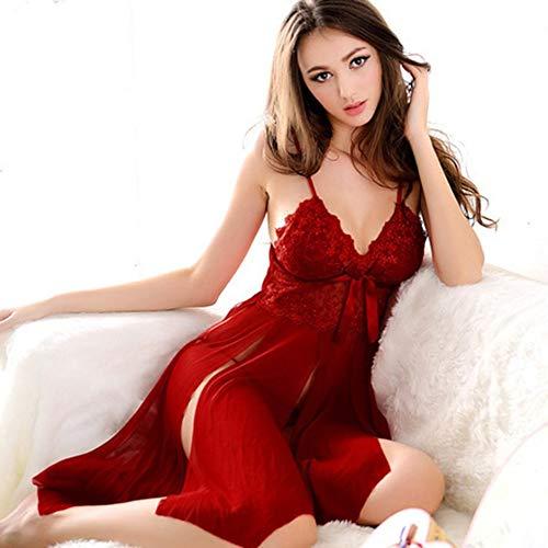 JuneKama Plug Size Sexy Women Lace Erotic Lingerie Dress Night Party Dress Costumi-Rosso