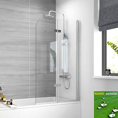 EMKE Duschwand für Badewanne 100x140cm Badewannenaufsatz Duschabtrennung, Duschtrennwand Badewannenfaltwand Duschfaltwand Badewannenspritzschutz aus 6mm ESG Sicherheitsglas mit Nano-Beschichtung