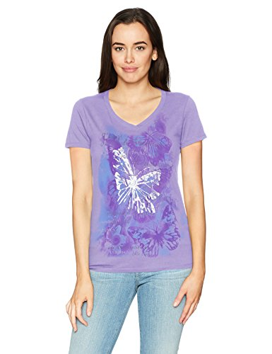 Hanes Women's Short Sleeve Graphic V-Neck Tee, Big Butterfly Impression/Salty Purple, Small -