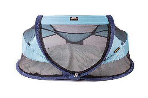 Deryan Travel-cot Baby Luxe Reisebettzelt inklusive Schlafmatte, selbstaufblasbarer Luftmatratze und Tragetasche mit Pop-Up innerhalb 2 Sekunden aufgebaut, ocean